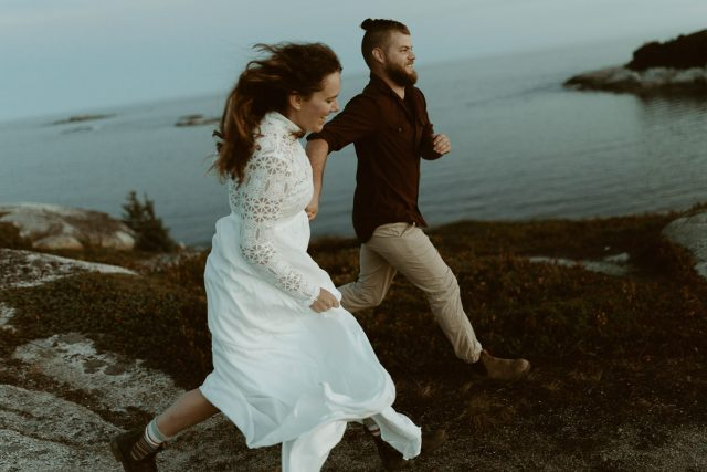 couples running at pollys cove elopement